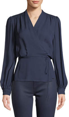 L'Agence Cara Long-Sleeve Silk Wrap Blouse