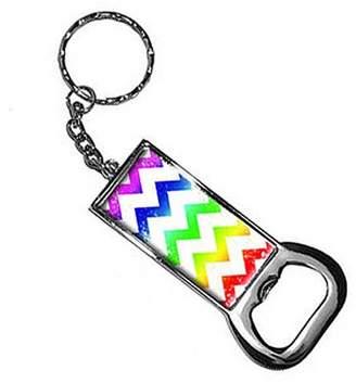 Generic Vintage Chevrons Rainbow Keychain Key Chain Ring Bottle Bottlecap Opener