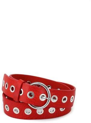 Dondup Metal Eyelets Red Leather Buckled Belt