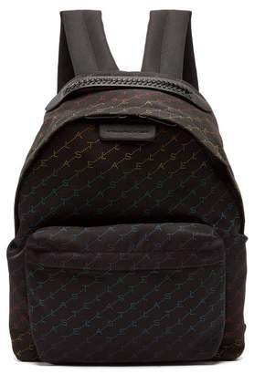 Stella McCartney Falabella Rainbow Logo Print Nylon Backpack - Womens - Black Multi