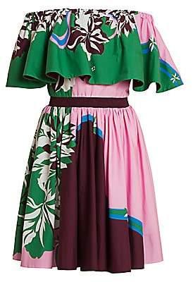 Emilio Pucci Women's Vahine-Print Off-The-Shoulder Ruffle Dress