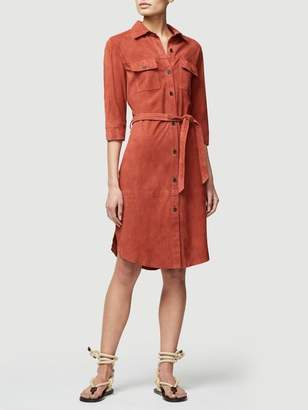 Frame Suede Military Shirt Dress