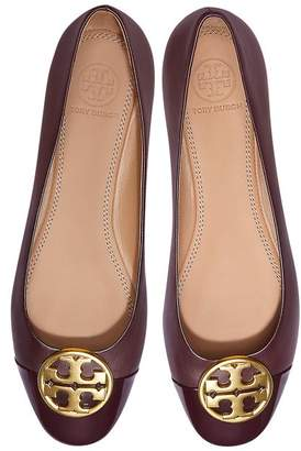 Tory Burch Burgundy Nappa & Patent Leather Chelsea Cap-toe Ballet Flats