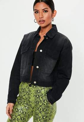 Missguided Tall Black Cropped Utility Pocket Denim Jacket