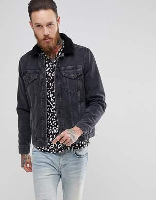 AllSaints Denim Jacket With Fleece Collar In Black