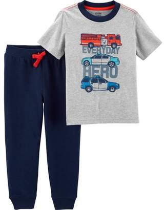 Carter's Child of Mine by Short Sleeve Graphic T-Shirt & Jogger Pants, 2-Piece Outfit Set (Toddler Boys)