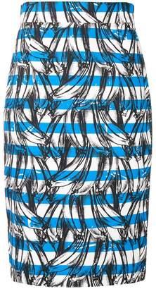 Prada banana print striped skirt