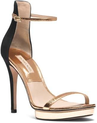 Michael Kors Doris Metallic Leather and Suede Sandal