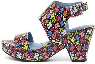 Django & Juliette Endevour Black floral Sandals Womens Shoes Casual Heeled Sandals