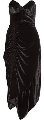 Preen by Thornton Bregazzi Alexa Strapless Lace-Trimmed Velvet Midi Dress