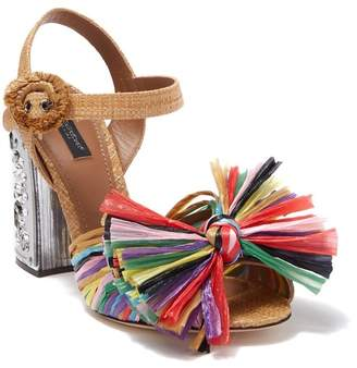 Dolce & Gabbana Embellished Straw Block Heel Sandal