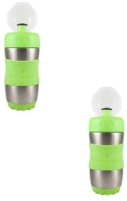 Kid Basix Safe Sporter 12 Ounce Reusable Water Bottle, Lime (2 Pack)