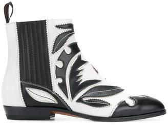 Santoni leaf patch ankle boots