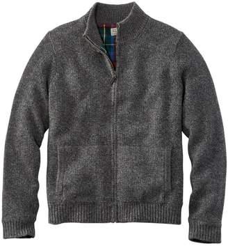 L.L. Bean Men's L.L.Bean Classic Ragg Wool Sweater, Full-Zip Flannel-Lined