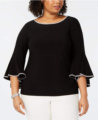 2a2207229a9 MSK Plus Size Embellished Bell-Sleeve Top