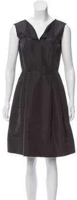 Oscar de la Renta Silk Knee-Length Dress Grey Silk Knee-Length Dress