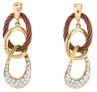 Charriol Diamond Oblong Drop Earrings