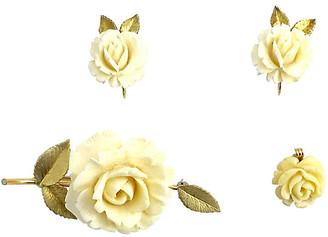 One Kings Lane Vintage Krementz Rose Earrings - Brooch & Pendant - Owl's Roost Antiques