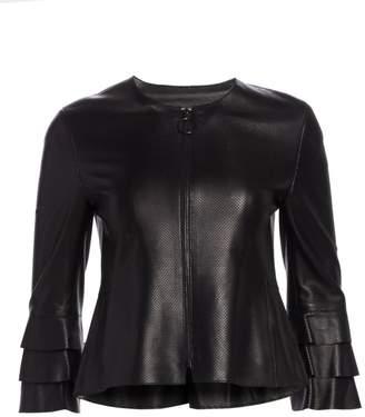 Akris Punto Ruffle Sleeve Perforated Leather Jacket