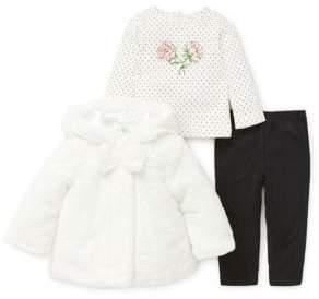 Little Me Baby Girl's Three-Piece Faux Fur Jacket, Tee & Leggings Set