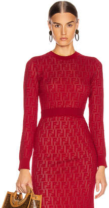Fendi Long Sleeve FF Sweater in Fuchsia | FWRD