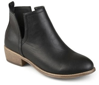 Brinley Co. Womens Side Slit Faux Leather Stacked Heel Booties