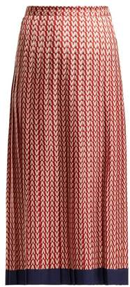 Valentino Optical Print Pleated Midi Skirt - Womens - Red Multi