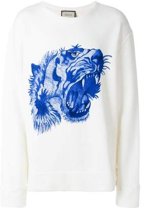 Gucci embroidered tiger print sweatshirt