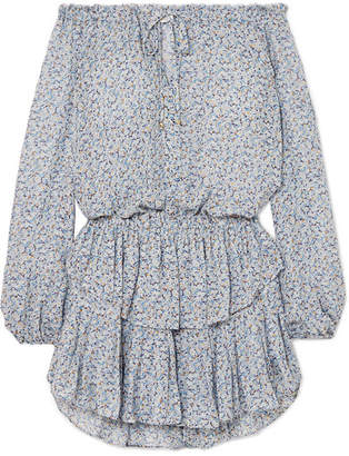 LoveShackFancy Popover Off-the-shoulder Ruffled Floral-print Silk-georgette Dress - Light blue