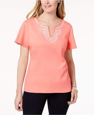 Karen Scott Cotton Embellished Top