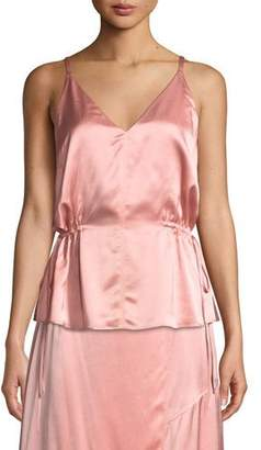 Derek Lam 10 Crosby Satin V-Neck Cami with Side Ties