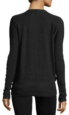 Neiman Marcus Pointelle-Trim Open-Front Cardigan