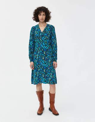 Ganni Silk Mix Wrap Dress
