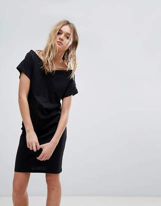 Cheap Monday Off The Shoulder Dress with Sleeve Logo