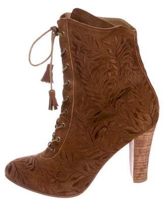 Ulla Johnson Audrey Embroidered Lace-Up Ankle Boots