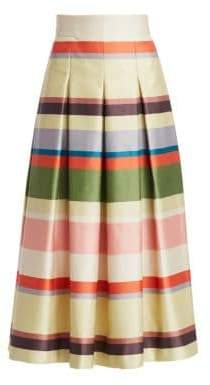 Akris Punto Horizontal Stripe Pleated Midi Skirt
