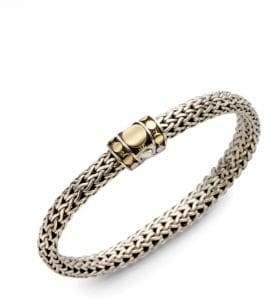 John Hardy Dot 18K Yellow Gold& Sterling Silver Chain Bracelet