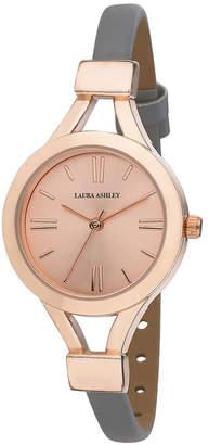 Laura Ashley Ladies' Grey Thin Strap Rose Gold Case Watch