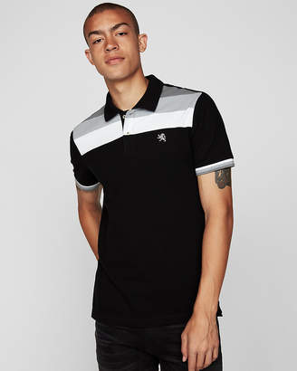 Express Small Lion Color Block Stretch Polo Shirt