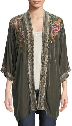 Johnny Was Quito Floral-Embroidered Velvet Kimono w/ Border Stitching, Plus Size