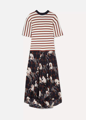 Chloé Striped Ribbed-knit And Printed Silk-twill Dress - Ivory