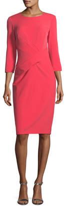 St. John Jewel-Neck Stretch-Crepe Dress