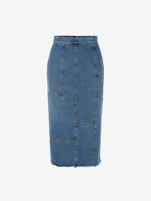 Alexander McQueen Pieced and Patched Denim Midi Skirt