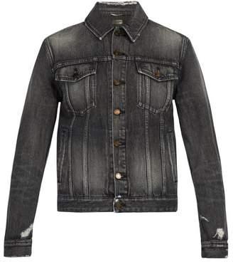 Saint Laurent Distressed Denim Jacket - Mens - Grey