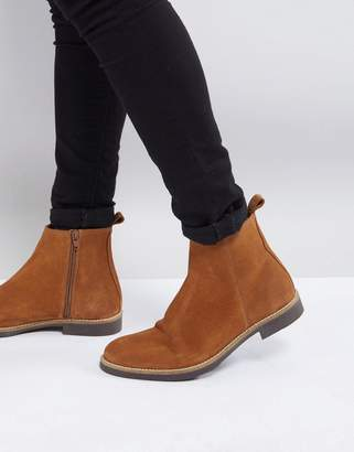 Zign Shoes Suede Chelsea Boots In Tan