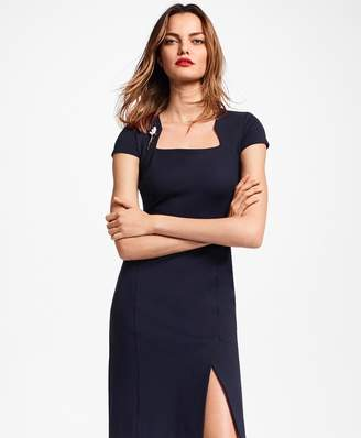 Brooks Brothers Petite Ponte-Knit Square-Neck Sheath Dress