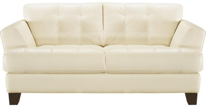 Cindy Crawford Home Avenue Pearl Leather Loveseat