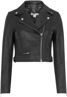 Whistles Rose Crop Leather Jacket