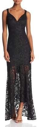 Nicole Miller Sleeveless Lace Sheer-Hem Gown