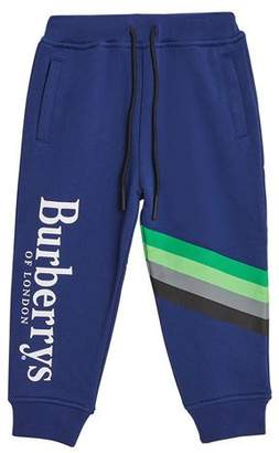 Burberry Gus Logo & Stripes Sweatpants, Size 4-14